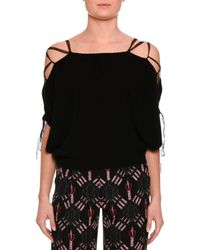 Valentino - Black Lace-up Cold-shoulder Sweater - Lyst