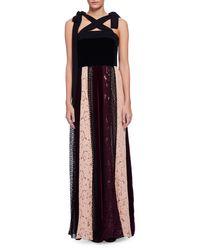 Lanvin | Multicolor Sleeveless Velvet Combo Gown W/paneled Lace Skirt | Lyst