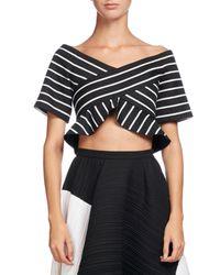 Proenza Schouler | Black Striped Jacquard Off-shoulder Crop Top | Lyst