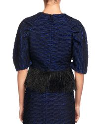 Proenza Schouler | Blue Knit Crop Top W/feather Embellishment | Lyst
