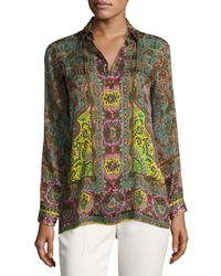 Etro   Brown Mixed Paisley-print Silk Shirt   Lyst
