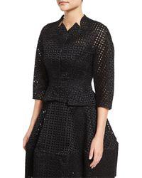Zac Posen | Black 3/4-sleeve Duchess Eyelet Jacket | Lyst