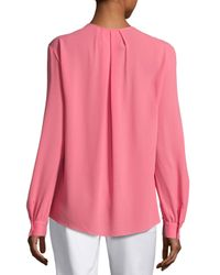 Michael Kors - Pink Split-neck Silk Blouse - Lyst