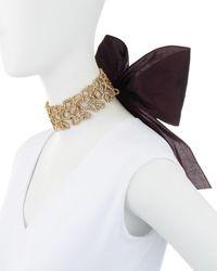 Oscar de la Renta - Black Textured Golden Choker Necklace With Grosgrain Bow - Lyst