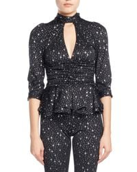 Balenciaga | Black Star-print Tie-neck Ruched Jersey Blouse | Lyst