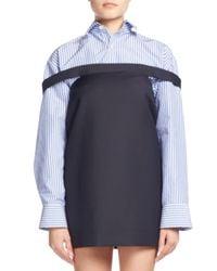 Balenciaga   Blue Mini Pinstriped Dress/skirt   Lyst
