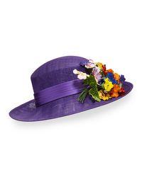Philip Treacy | Purple Straw Hat W/ Pansies | Lyst