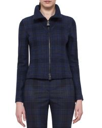 Akris - Blue Eda Fitted Plaid Wool Jacket - Lyst
