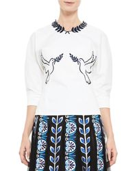 Mary Katrantzou | White Dove-embroidered Poplin Top | Lyst