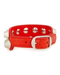 Balenciaga - Red Giant 12 Wide Leather Bracelet With Studs - Lyst