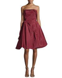 Oscar de la Renta | Red Strapless Ruched Cocktail Dress | Lyst