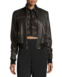 A.L.C.   Black Jordyn Pebbled Leather Zip-front Jacket   Lyst