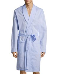 Hanro   Blue Ryan Collection Chambray Woven Robe for Men   Lyst