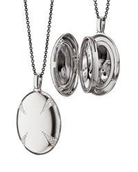 Monica Rich Kosann | Metallic Sterling Silver & White Sapphire Locket Necklace | Lyst