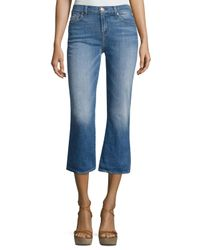 7 For All Mankind   Blue Cropped Boot Denim Jeans   Lyst