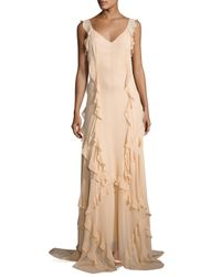 Elizabeth and James | Natural Catherine Sleeveless Silk Ruffle Gown | Lyst