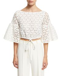 MILLY | White Lydia Floral-embroidered Lace Crop Top | Lyst