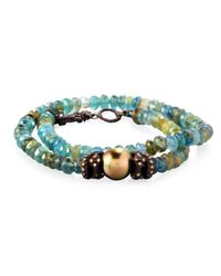 Armenta | Blue Old World Beaded Double-wrap Bracelet With Diamonds | Lyst