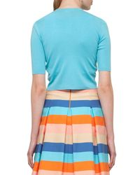 Akris Punto | Blue Half-sleeve Cropped Cardigan | Lyst