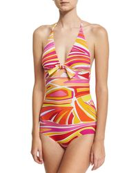 Emilio Pucci | Pink Lance One-piece Swimsuit With Front Knot Detail | Lyst