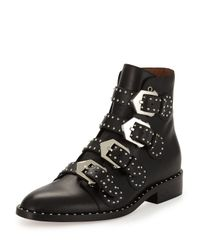 Givenchy | Black Studded Leather Ankle Boots | Lyst