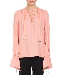 Altuzarra | Pink Capulet Lace-up Ruffle-cuff Top | Lyst