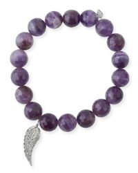 Sydney Evan | Purple 10mm Amethyst Beaded Bracelet With Diamond Wing Charm | Lyst