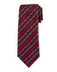 Ermenegildo Zegna - Red Pixelated Stripe Twill Tie for Men - Lyst