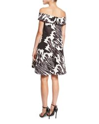 Halston - Black Off-the-shoulder Printed Cocktail Dress - Lyst