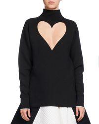 Proenza Schouler | Black Heart-cutout Mock-neck Top | Lyst