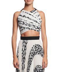 Proenza Schouler | Black Printed Cloque Crop Top | Lyst