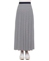 Akris Punto | Blue Striped Pleated Maxi Skirt | Lyst