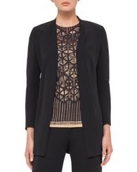 Akris | Black Open-front Wool-blend Cardigan Jacket | Lyst