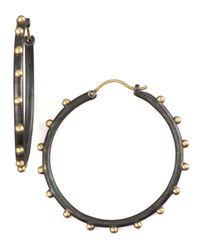 Armenta | Black Midnight Granulated Hoops | Lyst