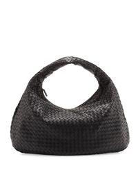 Bottega Veneta | Black Veneta Intrecciato Large Hobo Bag | Lyst