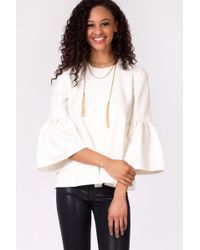 Oxford Sunday - White Bell Sleeve Ponte Top - Lyst