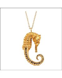 Bex Rox | Metallic Zoe Seahorse Pendant With Black Diamonds | Lyst