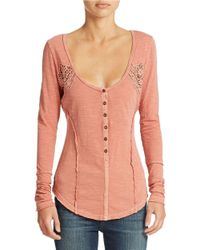 Free People | Red Keepsake Crochet Inset Slub Henley | Lyst