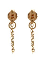 Melissa Joy Manning - Metallic Gold And Blue Topaz Chain Stud Earrings - Lyst