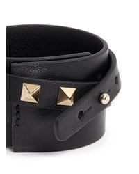 Valentino | Black 'rockstud' Double Wrap Leather Bracelet | Lyst