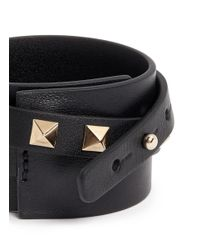 Valentino - Black 'rockstud' Double Wrap Leather Bracelet - Lyst