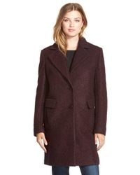 DKNY Purple Boucle Reefer Coat