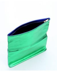 Saint Laurent - Blue Roy And Green Metallic Finish Leather Foldover Clutch - Lyst