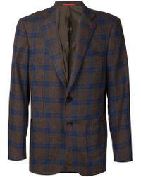 Isaia - Gray Checked Blazer for Men - Lyst