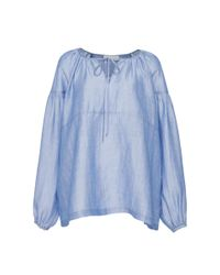 Co. | Blue Gathered Sleeve Japanese Ramie Top | Lyst