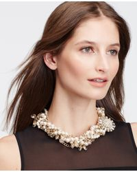 Ann Taylor - Pink Pearlized Brooch Statement Necklace - Lyst