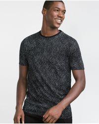 Zara | Black Printed Letters T-shirt for Men | Lyst