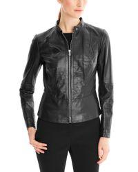 HUGO - Black Lambskin Leather Jacket  - Lyst