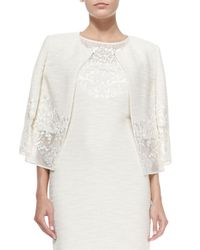 St. John - Natural Lace-trimmed Sparkle Shantung Knit Jacket - Lyst