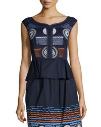 Peter Pilotto - Blue Embroidered Stretch-cotton Peplum Top - Lyst